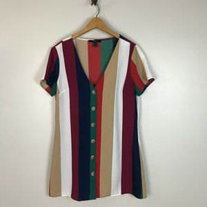 Forever 21 Striped Short Sleeve Button Up Dress